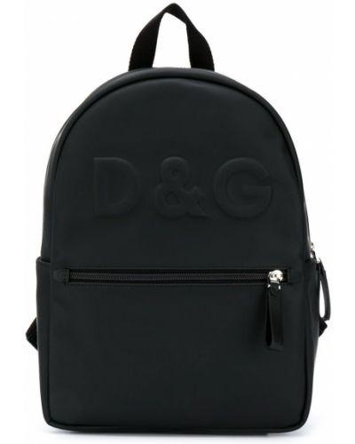 Черный рюкзак на бретелях на молнии с карманами Dolce & Gabbana Kids