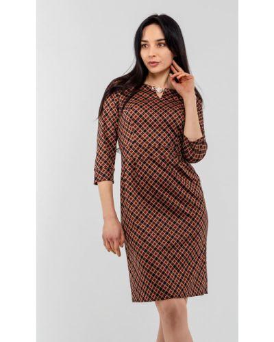 Рыжее трикотажное платье с рукавом 3/4 Modniy Oazis