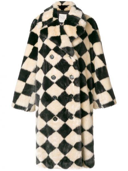 Бежевое пальто классическое из искусственного меха с воротником Marco De Vincenzo