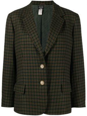 Зеленый шерстяной удлиненный пиджак в клетку Céline Pre-owned