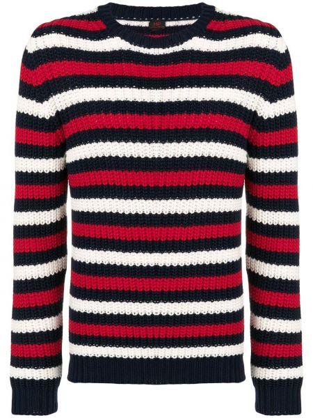 Czarny sweter w paski bawełniany Mp Massimo Piombo