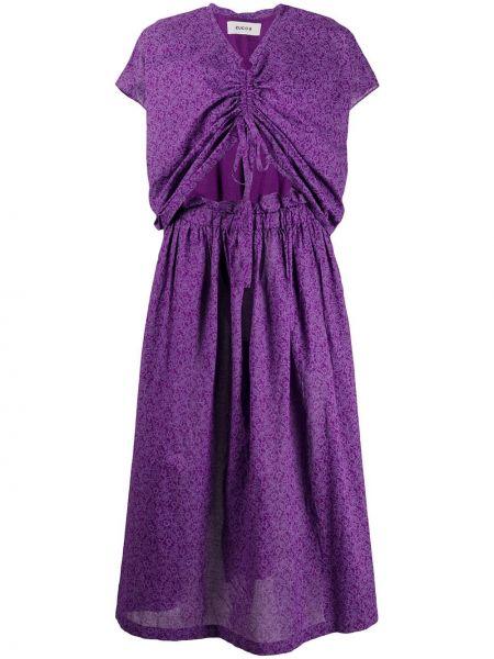 Платье миди с цветочным принтом с V-образным вырезом Zucca