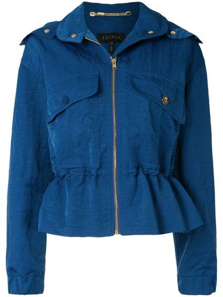 Синяя куртка с капюшоном на молнии Escada