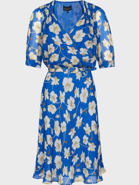 Синее платье на пуговицах из вискозы Luisa Spagnoli