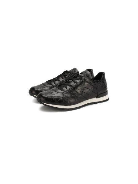 Прямые черные кроссовки из крокодила с подкладкой Kiton