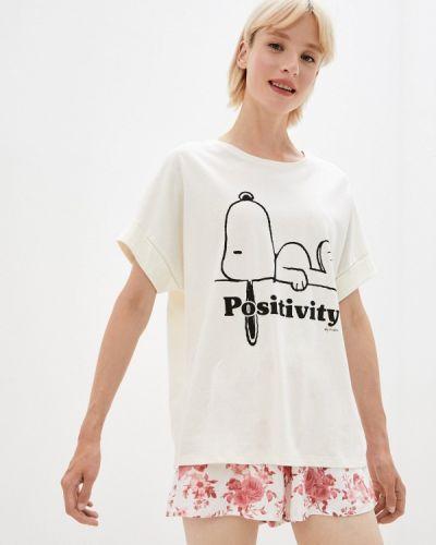 Бежевая футболка осенняя Women'secret