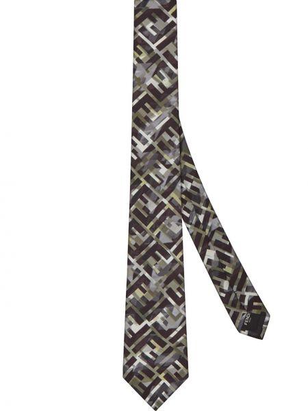 Krawat jedwab czarny Fendi