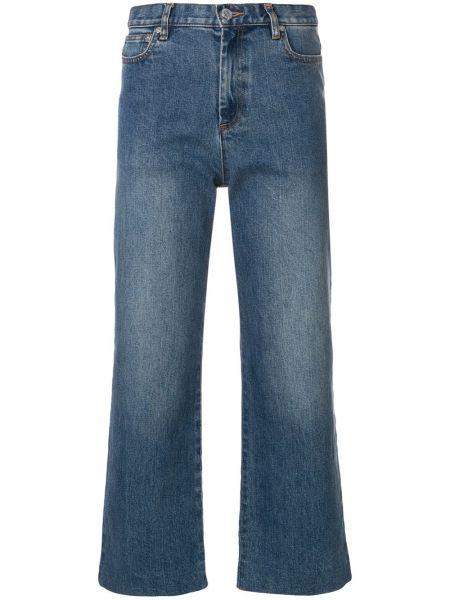 Прямые хлопковые синие укороченные джинсы A.p.c.