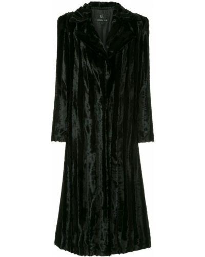 Черное длинное пальто с капюшоном на пуговицах Unreal Fur