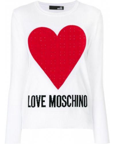 Белый джемпер длинный Love Moschino