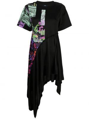 Платье миди с короткими рукавами - черное Diesel