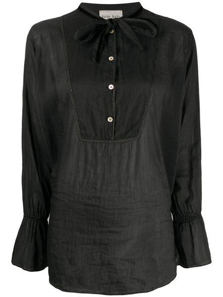 Bawełna z rękawami czarny jedwab tunika z długimi rękawami Forte Forte