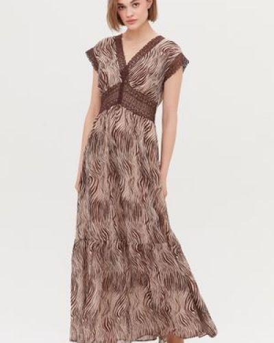 Хлопковое кружевное платье макси с декольте Love Republic