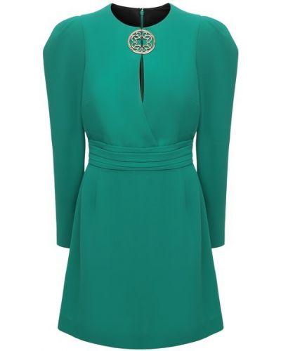 Платье мини с вырезом - зеленое Elie Saab