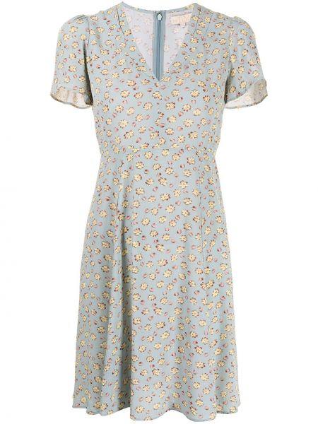 Niebieska sukienka mini rozkloszowana krótki rękaw Bytimo