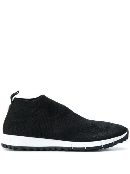 Хлопковые повседневные черные кроссовки с нашивками Jimmy Choo