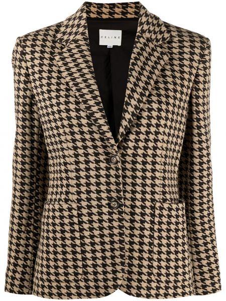 Шерстяной удлиненный пиджак на пуговицах с подкладкой Céline Pre-owned