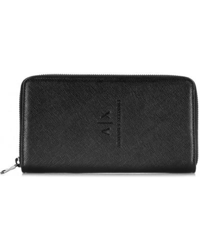 Черный кожаный кошелек на молнии Armani Exchange