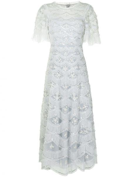 Синее платье миди с короткими рукавами с вышивкой Needle & Thread