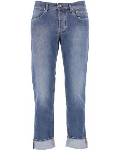 Niebieskie jeansy zapinane na guziki bawełniane Siviglia