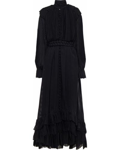 Черное платье миди с поясом в полоску Zimmermann