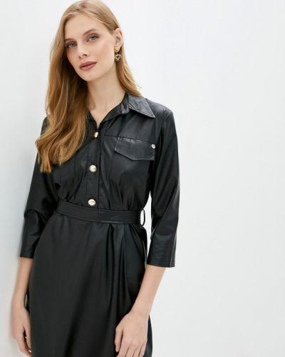 Кожаное черное платье Rinascimento