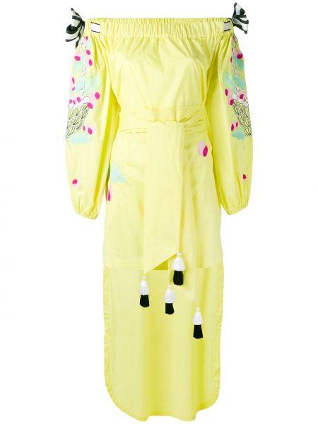 Хлопковое желтое платье с вышивкой с открытыми плечами Yuliya Magdych