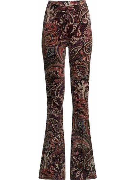 Czerwone spodnie bawełniane rozkloszowane Nicole Miller