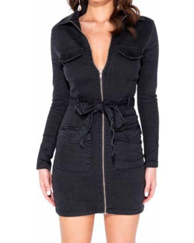 Czarna sukienka długa z długimi rękawami Parisian