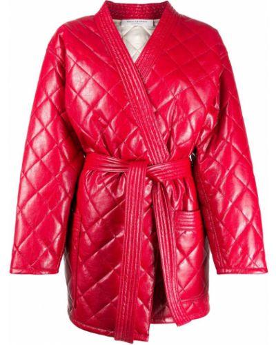 Красное стеганое длинное пальто с запахом Philosophy Di Lorenzo Serafini