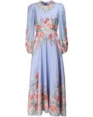 Платье миди с цветочным принтом льняное Zimmermann
