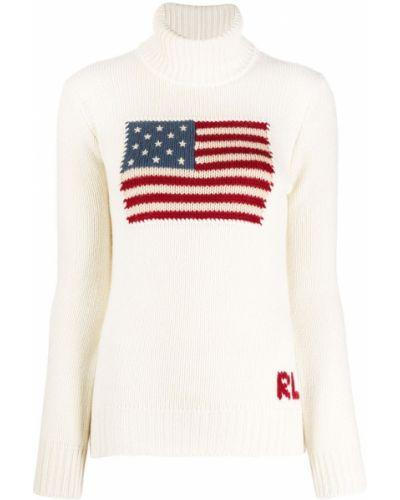 С рукавами белый кашемировый джемпер Ralph Lauren