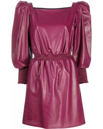 Розовое расклешенное кожаное платье мини с вырезом Philosophy Di Lorenzo Serafini