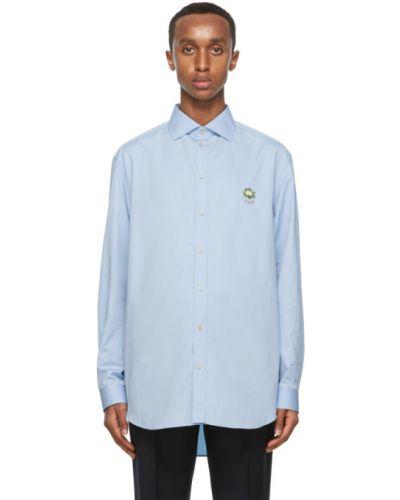 Niebieski bawełna koszula z mankietami z haftem Gucci