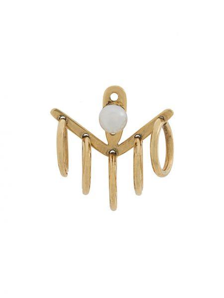 Золотистые золотые серьги золотые с жемчугом Yvonne Léon