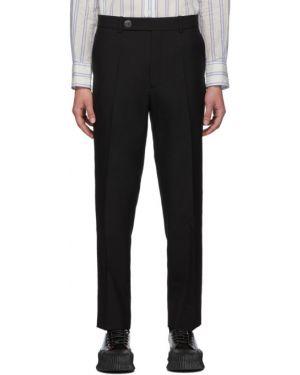 Шерстяные брючные черные брюки с поясом Namacheko