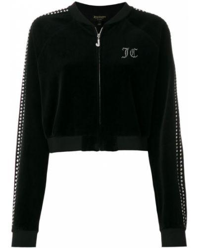 Велюровая черная спортивная куртка Juicy Couture