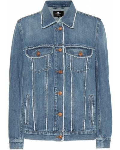 Синяя джинсовая куртка с опушкой 7 For All Mankind