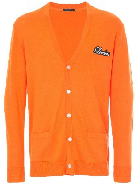 Оранжевый кардиган с вырезом Loveless