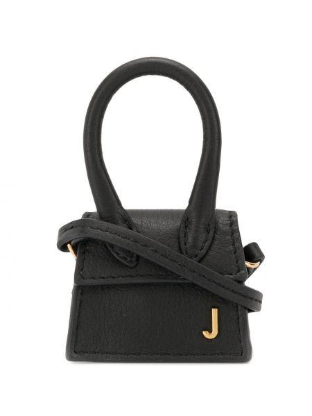 Мягкая черная маленькая сумка круглая из натуральной кожи Jacquemus