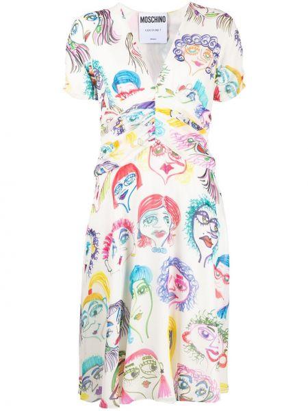 С рукавами шелковое белое платье мини Moschino