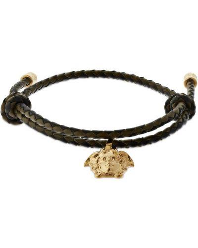 Кожаный браслет - черный Versace