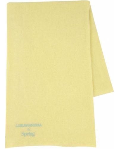Prążkowany z kaszmiru żółty szalik Luisaviaroma