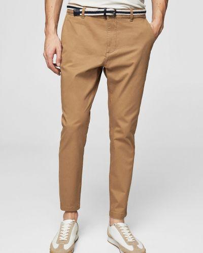 Коричневые прямые брюки Mango Man