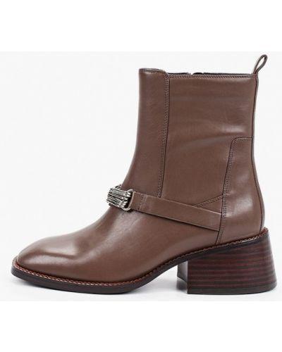 Кожаные коричневые ботильоны с квадратным носком Graciana