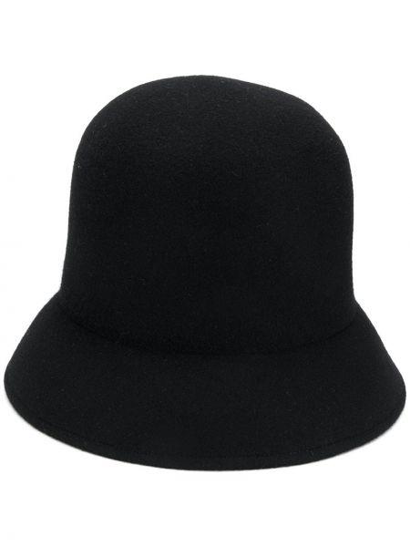 Bezpłatne cięcie wełniany czarny szeroki kapelusz bezpłatne cięcie Nina Ricci