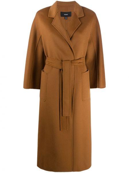 С рукавами шерстяное пальто с поясом с лацканами Arma