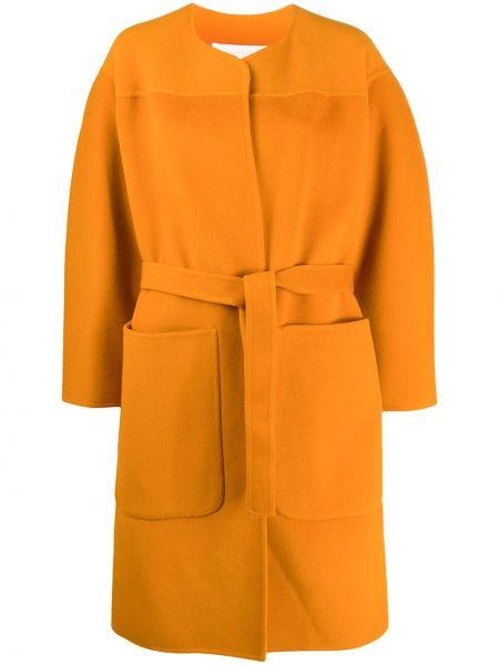 Коричневое шерстяное пальто с поясом оверсайз See By Chloé