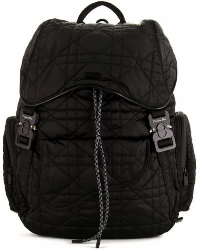 Czarny plecak skórzany pikowany Christian Dior