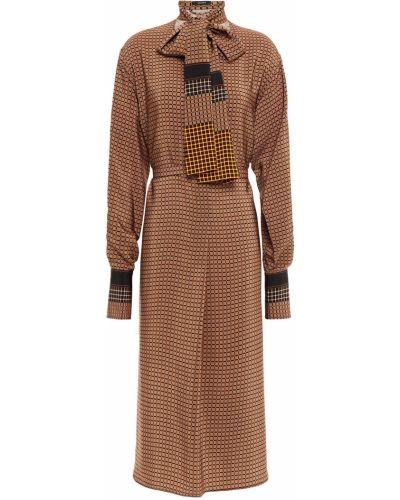 Шелковое платье миди - коричневое Joseph